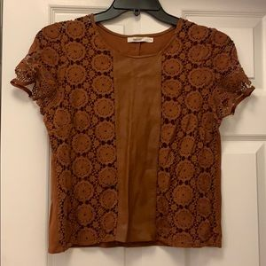 Bailey 44 Leather and Lace Top